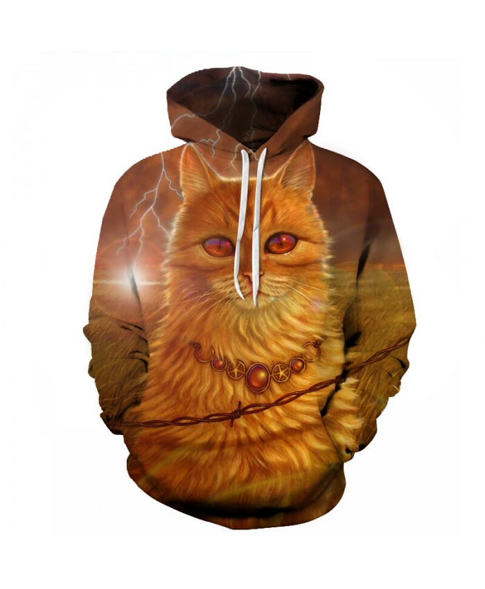 2018 Spring New Fashion Mens Hoodies And Sweatshirts 3D Print Cat Simple Valentine's Coats Casual Sportswear