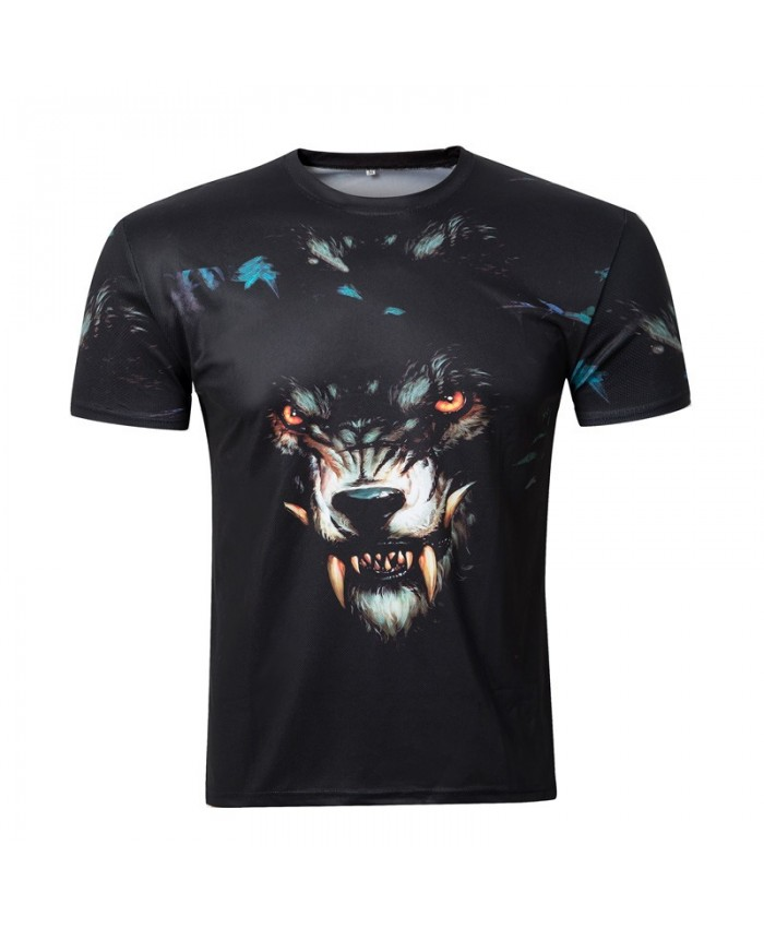 2021 summer new arrival 3D t shirt men Black vicious dog print t-shirt Casual tee shirt homme plus-size clothing men
