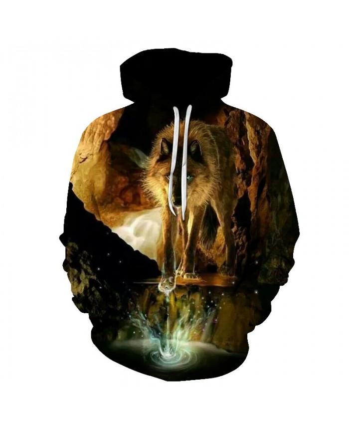 2021 3D Hoodies Men Wolf Hoody Animal Sweatshirt Harajuku Tracksuit Pullover Jacket Streetwear Coat Print Drop Ship