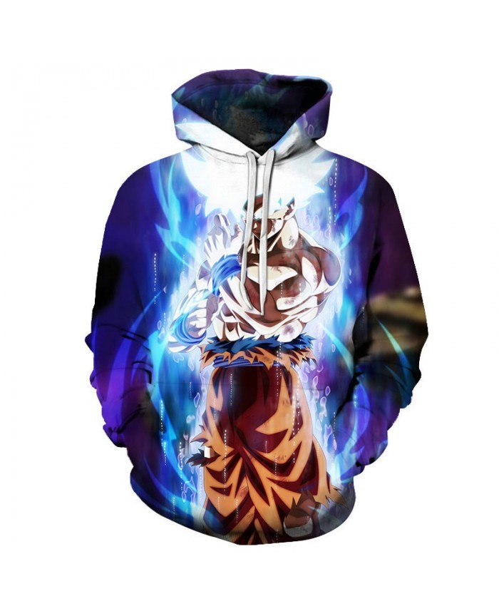 2019 3D Print White Hair Dragon Ball Men Pullover Sweatshirt Pullover Hoodie Casual Anime Hoodies Fashion Men Hoodie