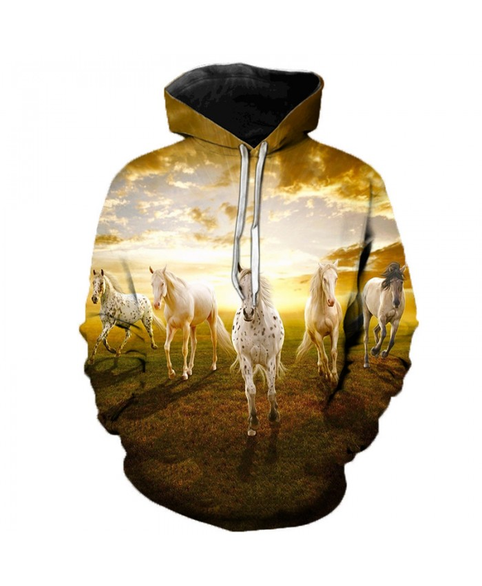 2021 Animal Horse Creative 3D Printed Hooded Sweatshirts Men Women Fashion Casual Harajuku Outerwear Hip Hop Streetwear Hoodies