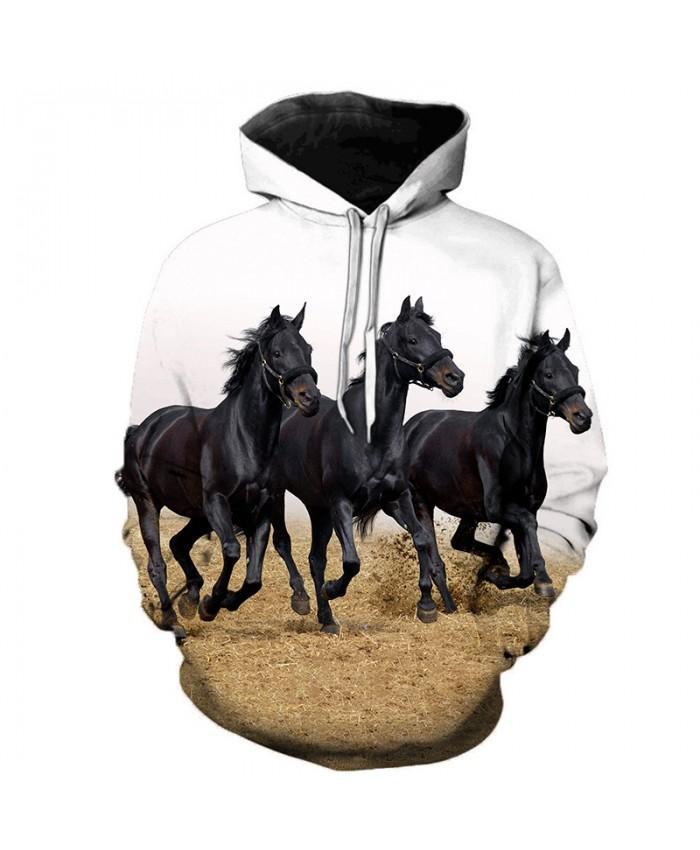2019 Animal Horse Creative 3D Printed Hooded Sweatshirts Men Women Fashion Casual Harajuku Outerwear Hip Hop Streetwear Hoodies A