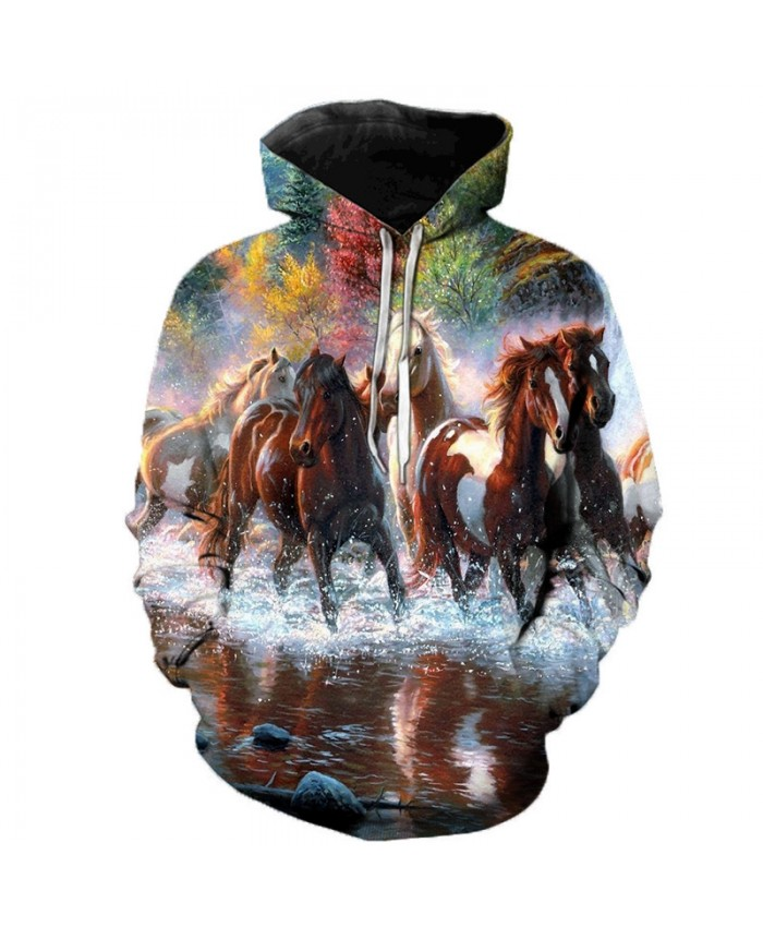 2021 Animal Horse Creative 3D Printed Hooded Sweatshirts Men Women Fashion Casual Harajuku Outerwear Hip Hop Streetwear Hoodies B