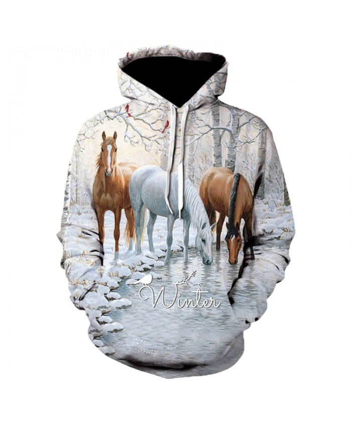 2021 Animal Horse Creative 3D Printed Hooded Sweatshirts Men Women Fashion Casual Harajuku Outerwear Hip Hop Streetwear Hoodies G
