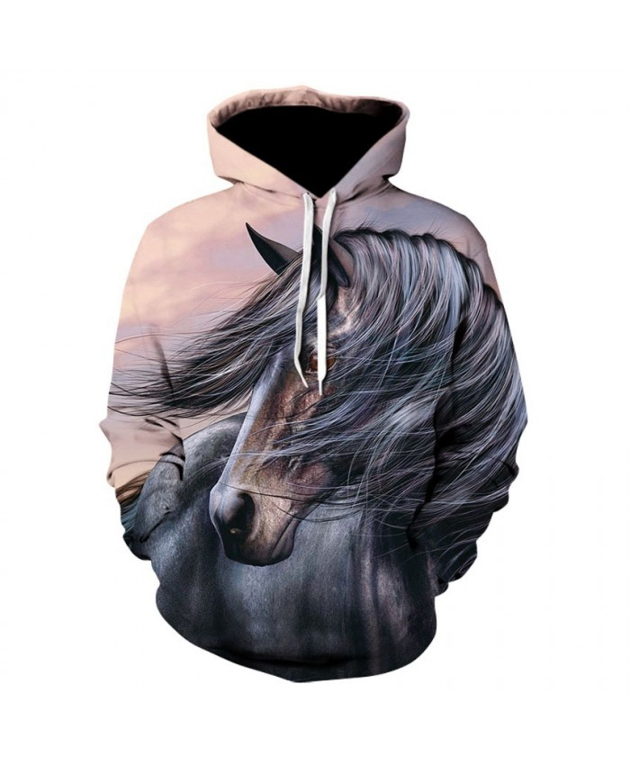 2021 Animal Horse Creative 3D Printed Hooded Sweatshirts Men Women Fashion Casual Harajuku Outerwear Hip Hop Streetwear Hoodies I
