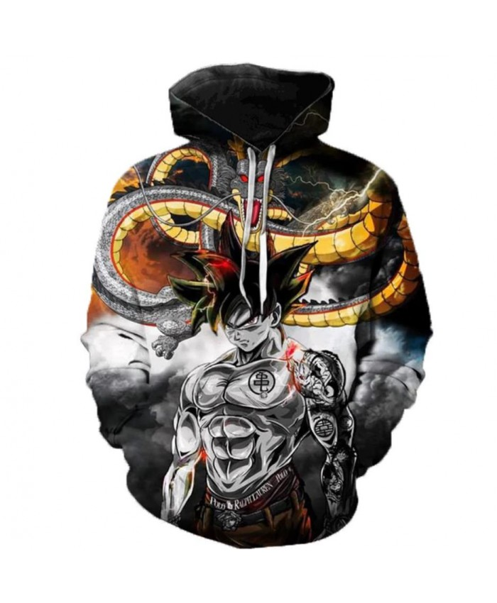 2021 Anime Dragon Ball Super Hoodie Male 3D Sweatshirts Super Saiyan Goku Printed Outwear Teen Boy Cartoon Hoody Pullover B