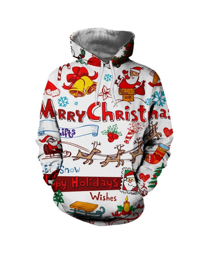 2019 Autumn Winter Christmas Men Women White 3D Sweatshirts Hoodies Funny Santa Hoody Fashion Brand Clothing Hoodie Tops Dropship
