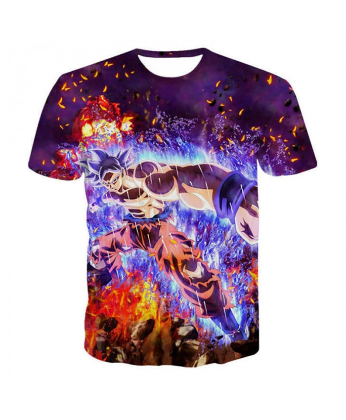 2021 Dragon Ball Z Super Saiyan 3D T Shirt Kid Son Goku Goten Gohan in the Fire and Ice T Shirts Harajuku Lonzo Ball Tee Shirt