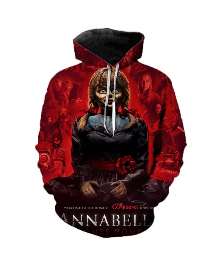 2021 Men Women Casual Hoodies Horror Movie Annabelle 3 Comes Home 3D Printed Hoodies Fashion Streetwear Pullovers Plus Size Tops