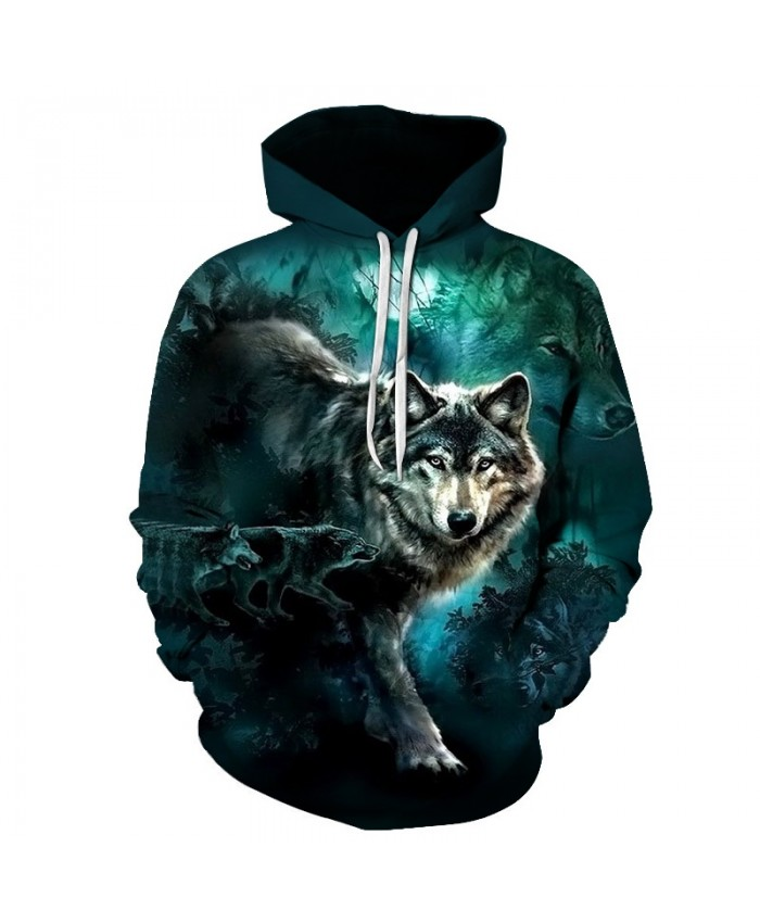 2021 New 3D Animal Hoodies Streetwear Mens Sweatshirts Wolf Printed Pullover Unisex Harajuku Hooded Tracksuits tops