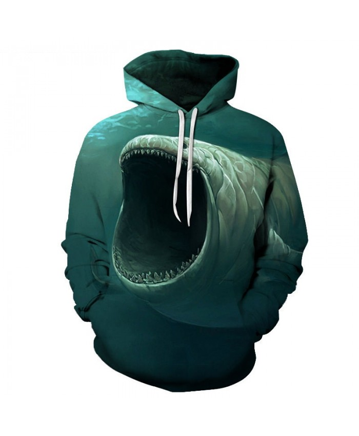 2021 New 3D Printed Open Mouth Fish Pullover Sweatshirt Clothing for Men Custom Pullover Hoodie Casual Hoodies Men