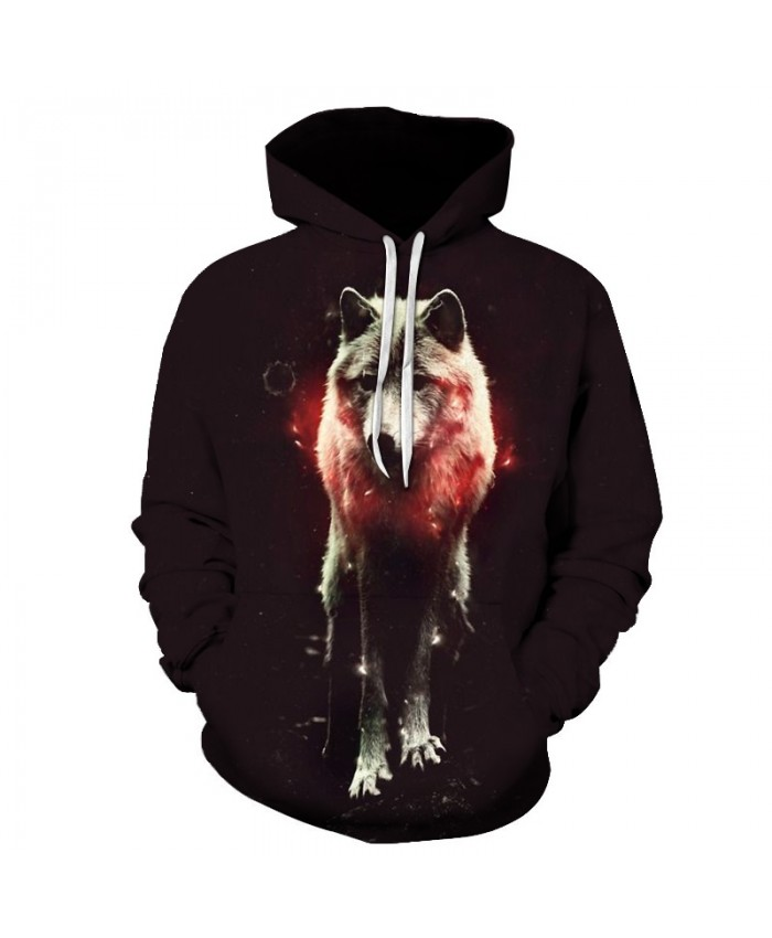 2021 New Animal cute animal hoodies Fashion men 3D wolf Print Hoodie Hip Hop Men Hooded Sweatshirt Men Red light hoody Plus Size