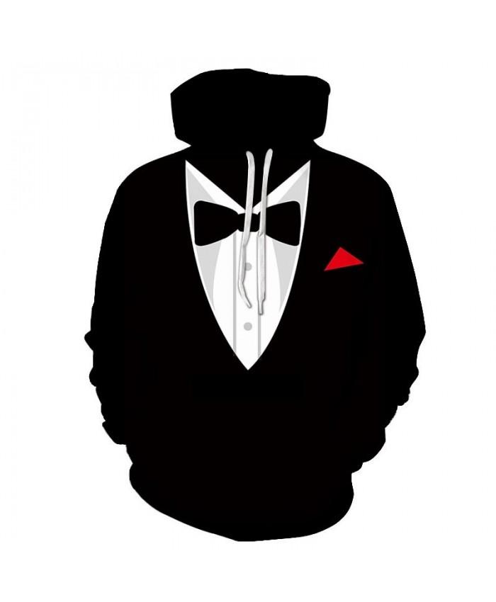 2019 New Black Bow Tie3D Print Men Pullover Sweatshirt Clothing for Men Casual Hoodies Men Streetwear Sweatshirt