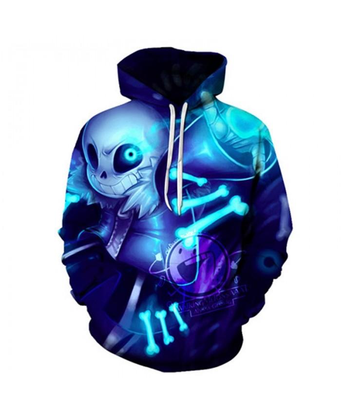 2019 New Blue Bone Undertale 3D Print Mens Pullover Sweatshirt Fashion Casual Men Hoodies Custom Pullover Hoodie