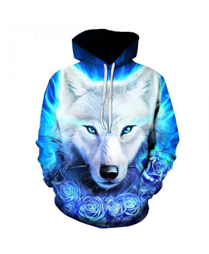 2021 New Blue rose Wolf Hoodies Men 3D Sweatshirts Harajuku Hoody Quality Pullover Streatwear Tracksuits hip hop tops