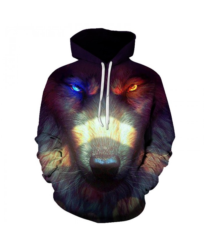 2021 New Brand Hip Pop Men's 3D Wolf Hooded Hoodies Sweatshirts Male Loose Long Sleeve Pullover Novelty Slim Hooded Tops Coat