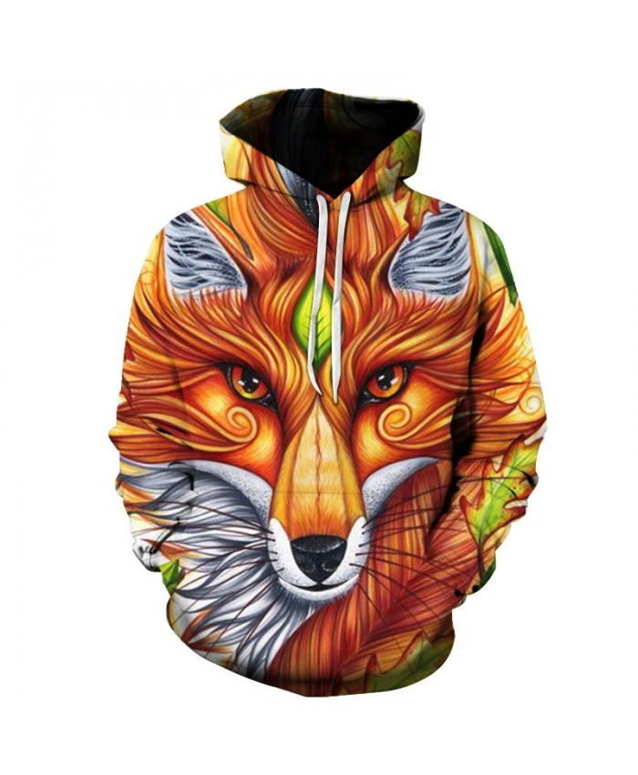 2021 New Fox 3D Hooded Sweatshirts Men/women Tracksuits Tops Print Wolf Hoodies man Thin Autumn Sweatshirts hip hop Hoodies