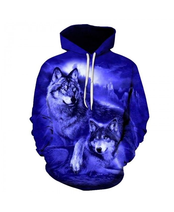 2021 New Harajuku Men's Sweatshirt High Quality Loose Men Long Sleeve Tops Hoody 3D Animal purple Wolf Print Man's Top Hoodie