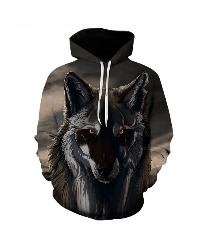 2021 New Hoodies Man 3D Print Animal Wolf Men's Hoody Sweatshirt Hip Hop Unisex Hoodies Pullover With Big Pockets Tops hoody