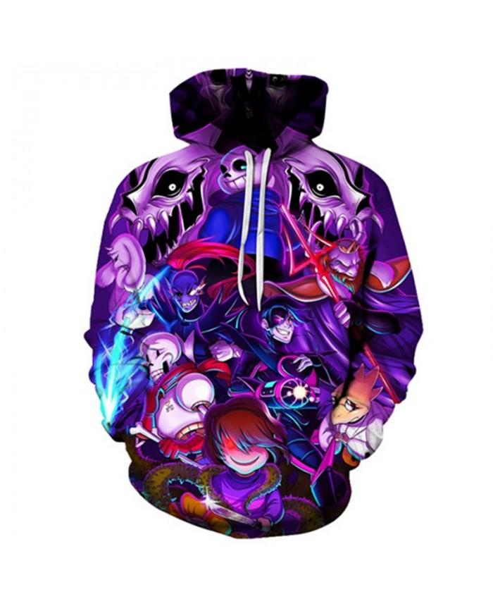 2019 New Purple Head Undertale 3D Print Mens Pullover Sweatshirt Fashion Casual Men Hoodies Custom Pullover Hoodie
