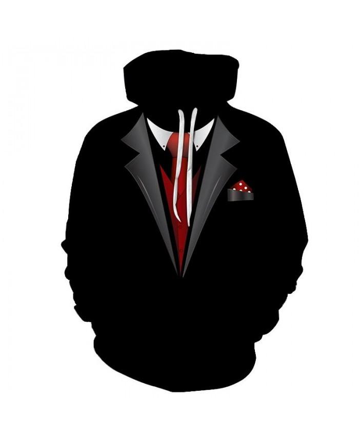 2019 New Red Tie 3D Print Men Pullover Sweatshirt Clothing for Men Casual Fashion Hoodies Men Streetwear Sweatshirt