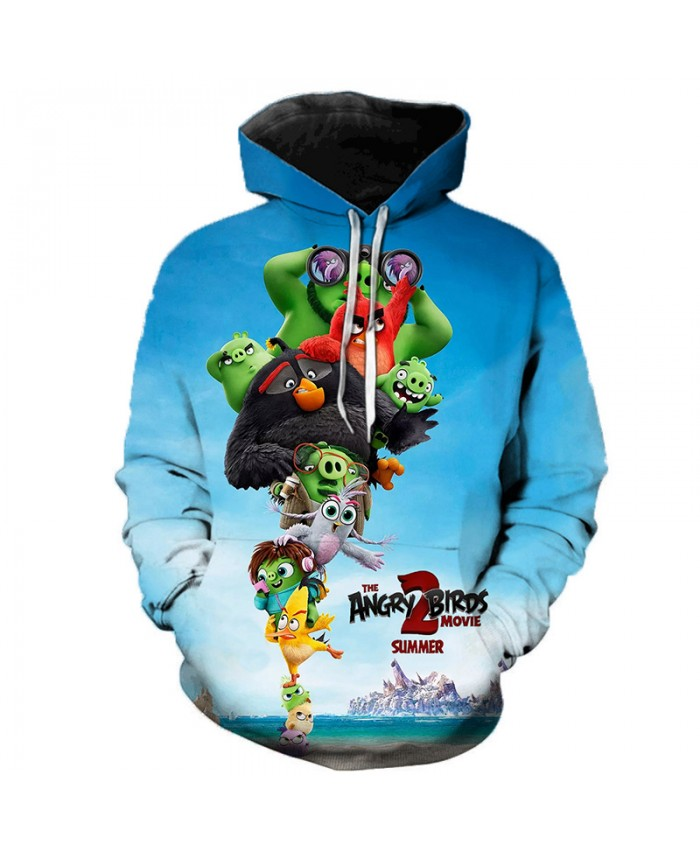 2019 New Style 3D Printed The Angry Birds Movie 2 Hooded Sweatshirts Hot Sale Men Women Streetwear Angry Birds 2 Casual Hoodies