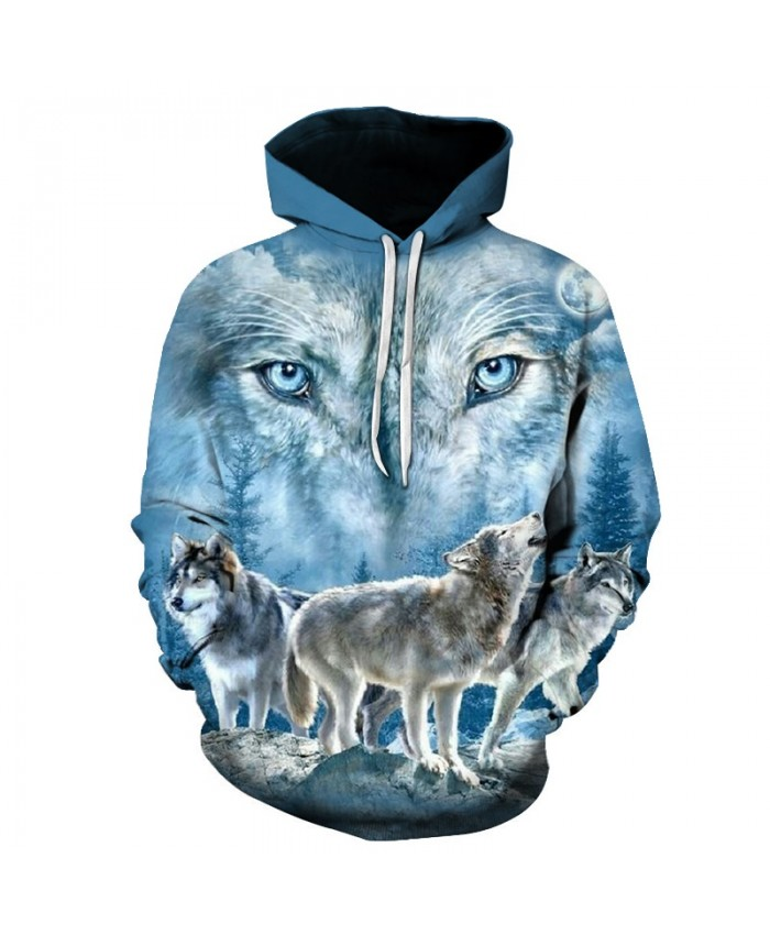 2021 New fashion wolf hooded hoodie 3D hooded printed wolf hoodie male-female thin section 3 wolves printed tops