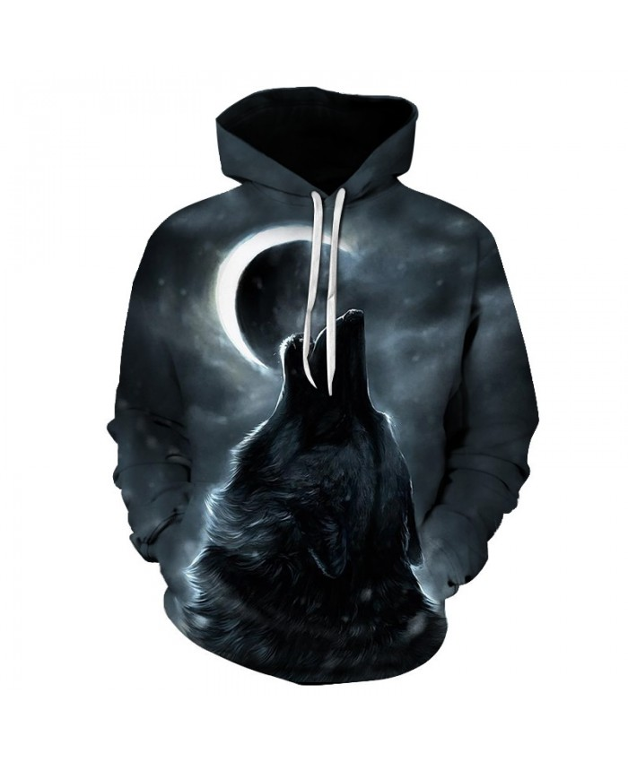 2019 New hoody Men/Women Brand Hooded Hoodies moon Print Double Wolf Cool Thin 3d Sweatshirts Tracksuits Tops