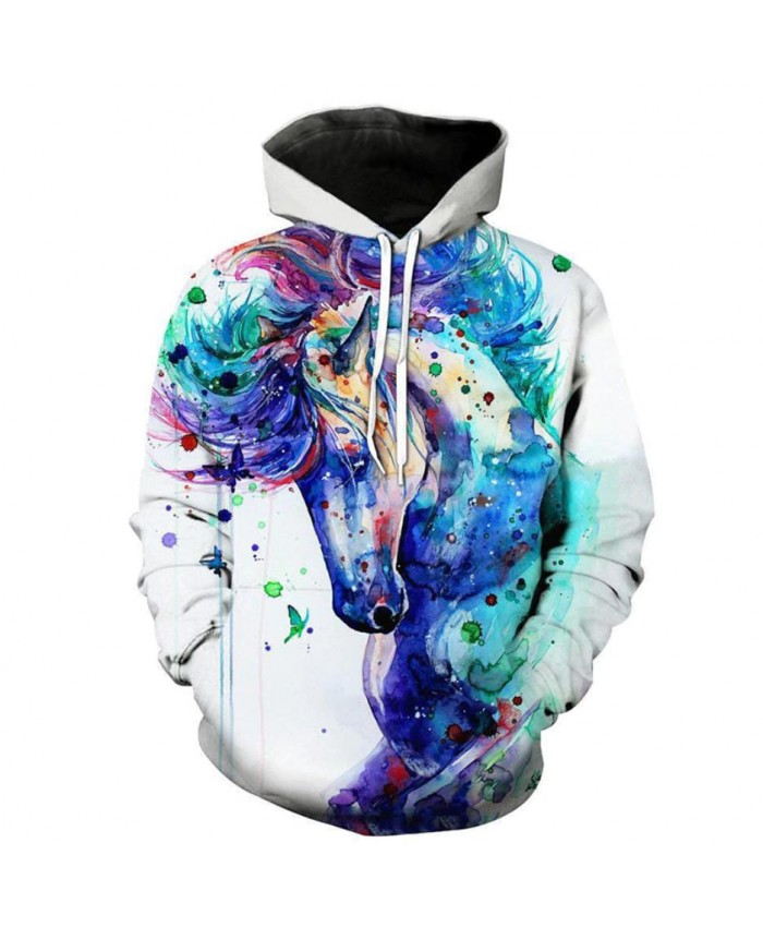 2019 Newest Fashion Sweatshirt Men / Women 3d Hoodies Print White Horse Animal Pattern Unisex Outerwear Hooded Spring Hoodies