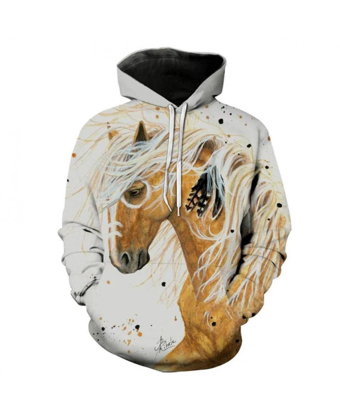 2021 Newest Fashion Sweatshirt Men / Women 3d Hoodies Print White Horse Animal Pattern Unisex Outerwear Hooded Spring Hoodies A