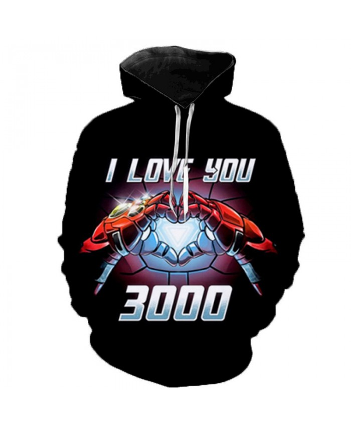 2019 Newest Marvel Avengers 4 Movies Iron Man I Love You 3000 3D Printed Hooded Sweatshirts Men Women Casual Streetwear Hoodies