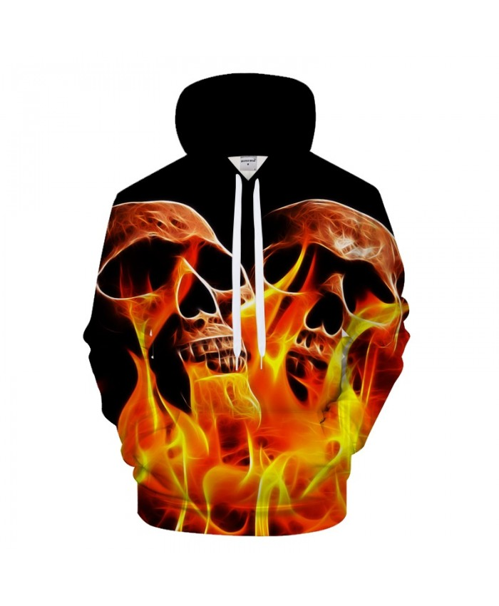 2021 Skull 3D Hoodies Men Women Hoody Fire Printed Sweatshirt Brand Tracksuit Pullover Coat Hooded Coat Drop Ship