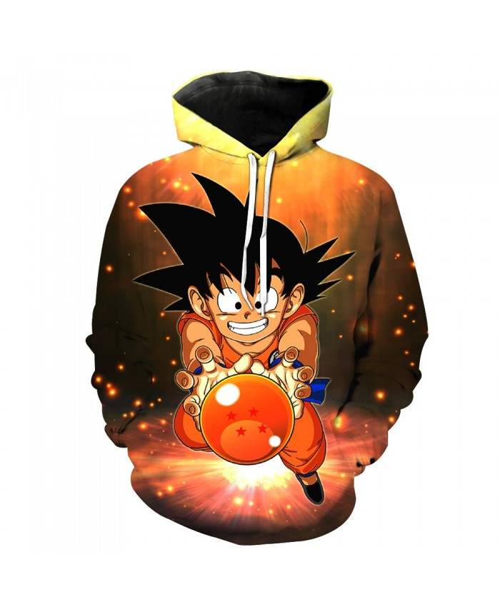 2019 fashion Men Women Hooded Sweatshirt Black Pocket Hoodies Vintage Dragon Ball Z Kid Goku 3D Hoodie Outerwe