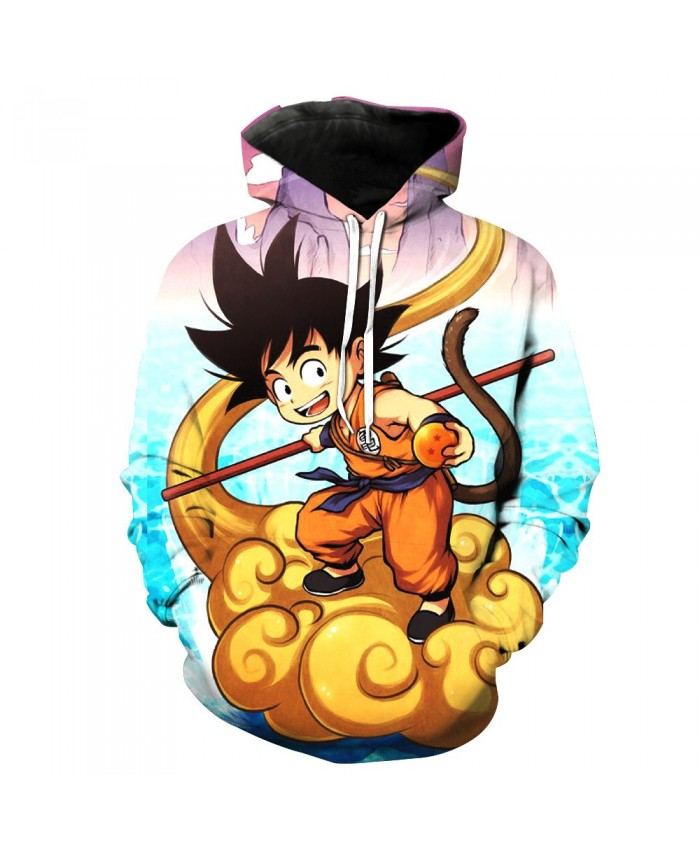 2019 spring and autumn couples installed explosions Dragon Ball 3D Goku print hooded sweater
