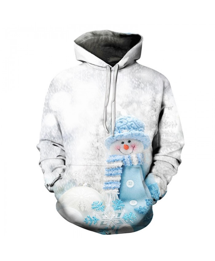 2021 Christmas Casual Fashion 3D Printed Hoodies Men Christmas Blue Snowman