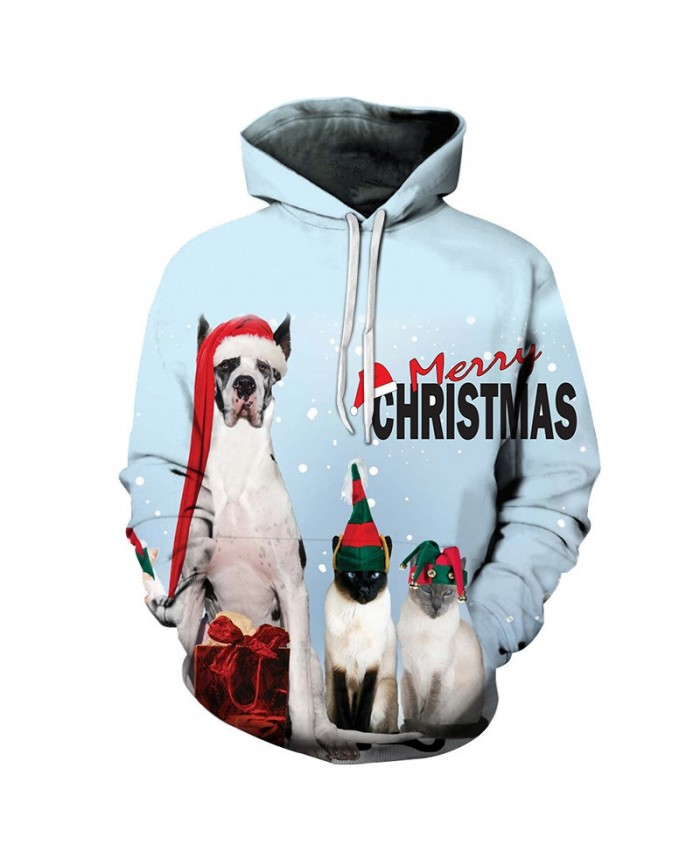 2020 Christmas Casual Fashion 3D Printed Hoodies Men Christmas Dog and cat