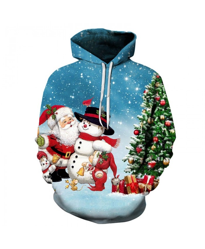 2021 Christmas Casual Fashion 3D Printed Hoodies Men Christmas Santa and snowman beside the Christmas tree