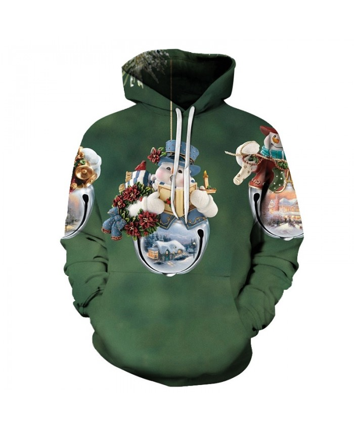 2020 Christmas Casual Fashion 3D Printed Hoodies Men Christmas bell pattern