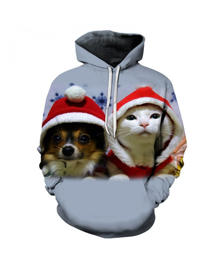 2020 Christmas Casual Fashion 3D Printed Hoodies Men Christmas cute kitten and puppy pattern
