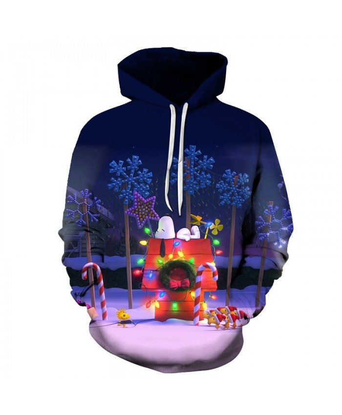2020 Christmas Casual Fashion 3D Printed Hoodies Men Christmas lights and small houses