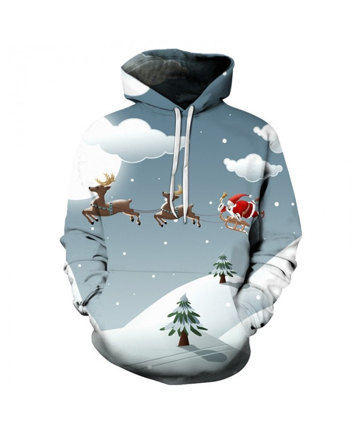 2020 Christmas Casual Fashion 3D Printed Hoodies Men Christmas night Santa Claus came pattern