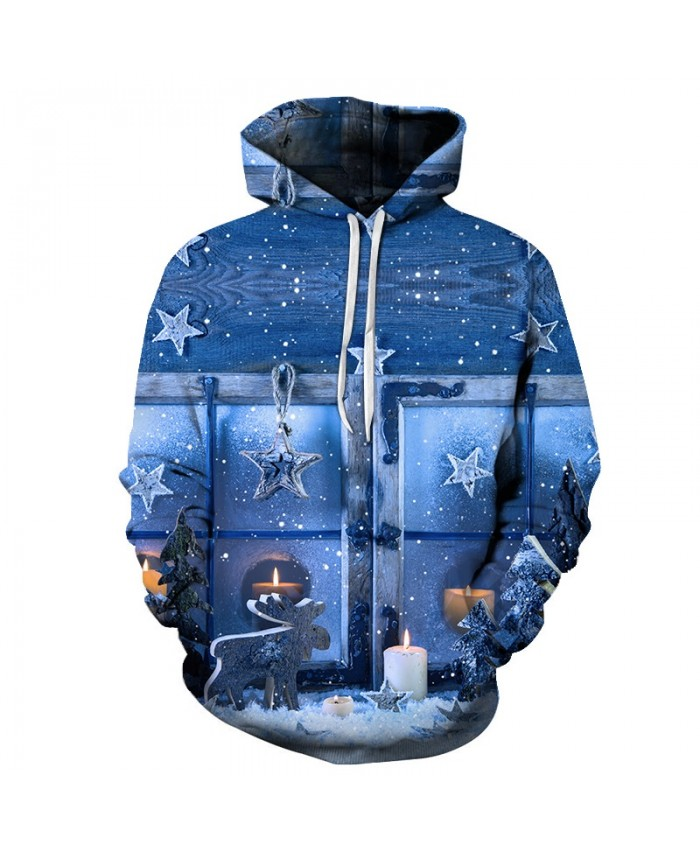 2021 Christmas Casual Fashion 3D Printed Hoodies Men Christmas night and candle patterns