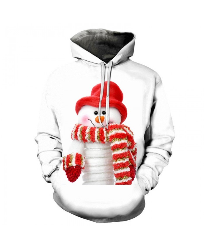 2020 Christmas Casual Fashion 3D Printed Hoodies Men Christmas pattern of a cute snowman