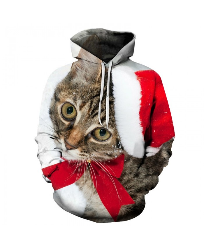 2020 Christmas Casual Fashion 3D Printed Hoodies Men Christmas pattern with big eyes kitten