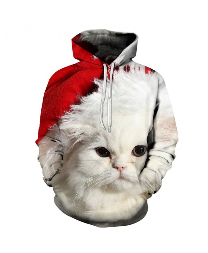 2020 Christmas Casual Fashion 3D Printed Hoodies Men Christmas white kitten pattern
