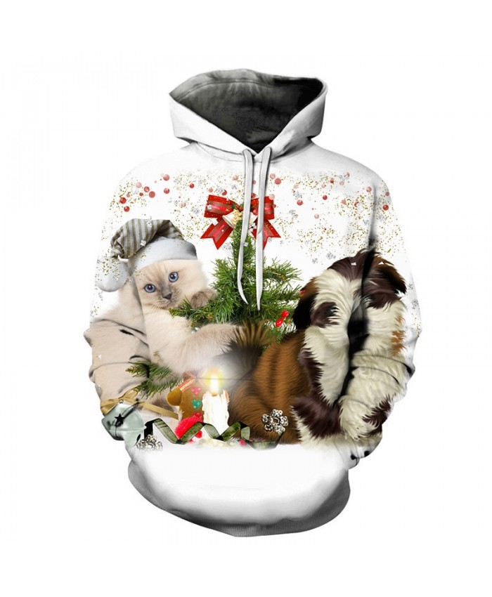 2020 Christmas Casual Fashion 3D Printed Hoodies Men Pattern of cat and dog at christmas