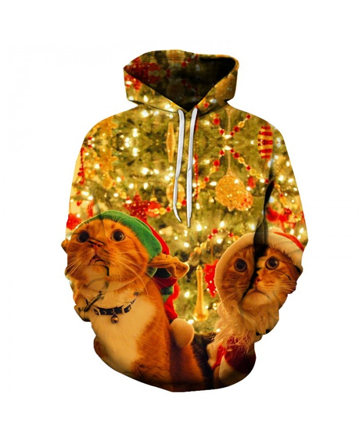 2021 Christmas Casual Fashion 3D Printed Hoodies Men Pattern of cats in christmas