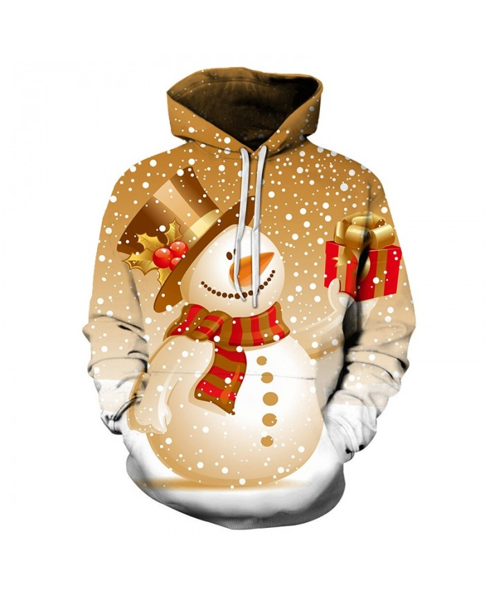 2020 Christmas Casual Fashion 3D Printed Hoodies Men Patterns of Christmas Snowman gifts