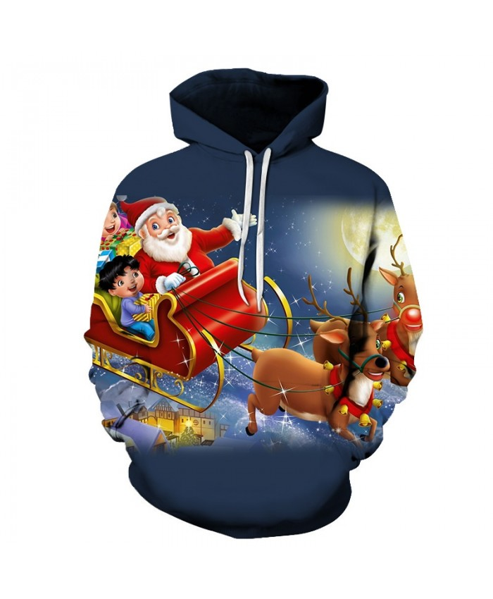 2020 Christmas Casual Fashion 3D Printed Hoodies Men Santa Claus came to the pattern
