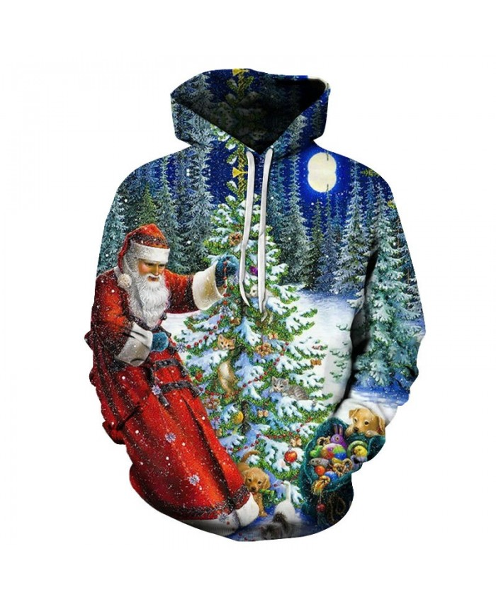 2021 Christmas Casual Fashion 3D Printed Hoodies Men Santa's gift pattern